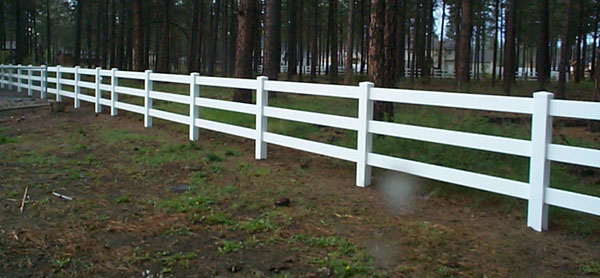 3 Three Rail White Vinyl Fence