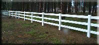 Vinyl 3 Rail installed by valley fence