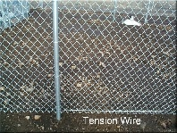 We recommend tension wire at the bottom of all chain link fences. The wire gives stability and strength to the bottom of the fabric and detours animals such as dogs from doing an under doggy