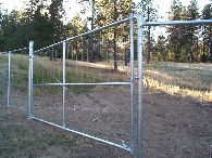 Gates to keep deer out, with the same mesh on the gate as on the fence