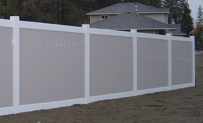 vinyl fence colors. White Vinyl Frame With Pebblestone Pickets By Valley Fence Colors